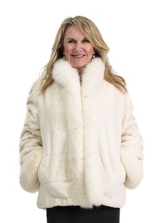 Oyster Sheared Rex Rabbit Jacket with Fox Trim