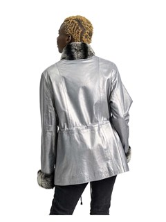 NEW Silver Metallic Lamb Leather Jacket with Rex Rabbit