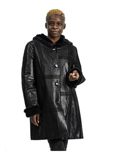 NEW Prodi Embossed Shearling Leather Parka with Mink