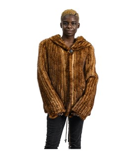 NEW Reversible Knitted Whiskey Mink Hooded Parka