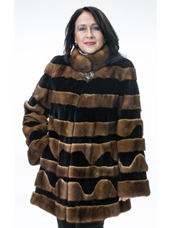 NEW Long Hair and Sheared Mink Horizontal Design Jacket