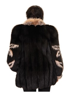 NEW Black and Crystal Fox Jacket with Flower Design on Sleeves