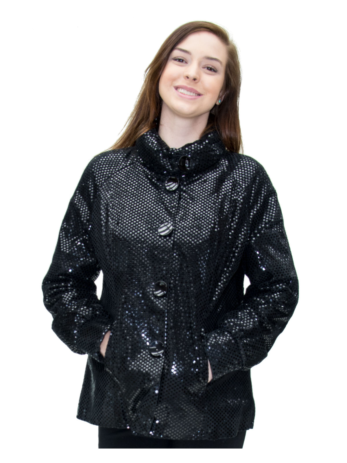 NEW Prodi Black Embossed Checkered Lamb Leather Jacket