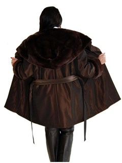 NEW Brown Taffeta Silk Rain Jacket with Rex Rabbit