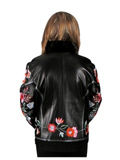 NEW Black Cabretta Lamb Leather Jacket with Flower Embroidery and Mink Trim