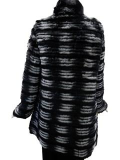 NEW Reversible Chinchilla and Black dyed Rex Rabbit Jacket
