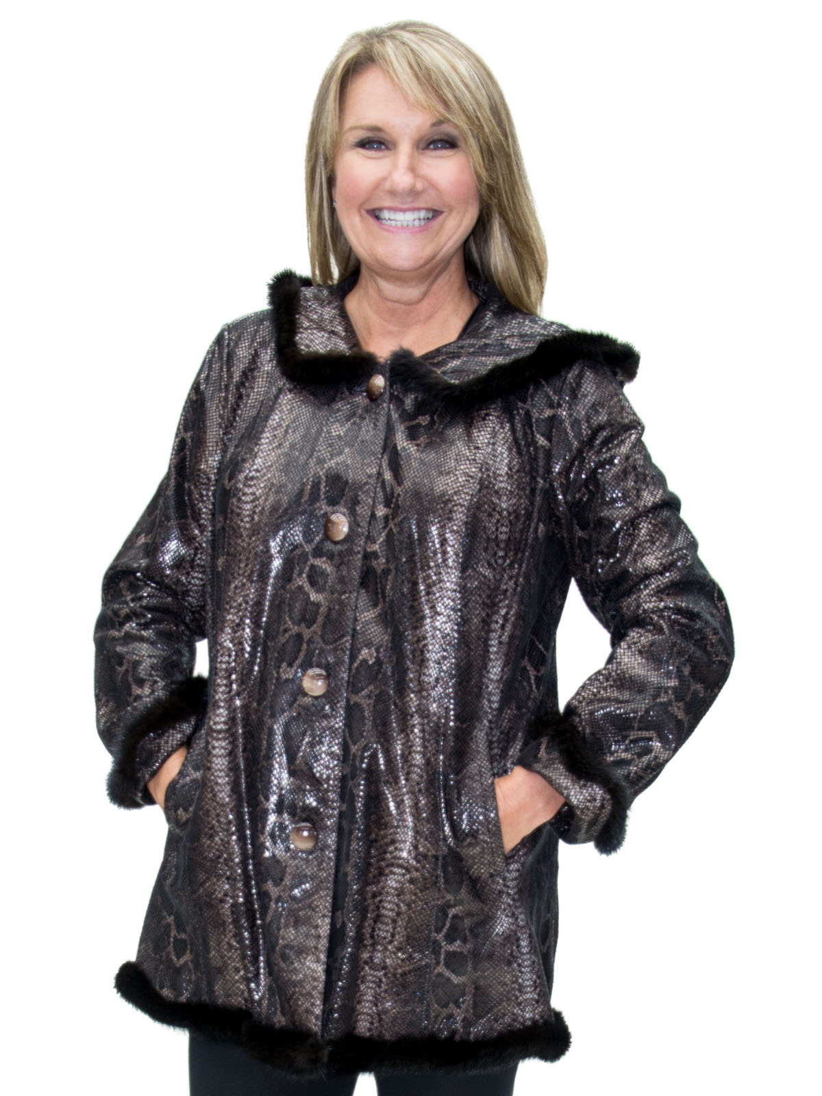 NEW Brown Python Print Cabretta Lamb Leather Semi Swing Hooded Parka with Mink Trim