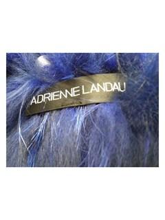 NEW Adrienne Landau Knitted Blue Silver Fox Jacket