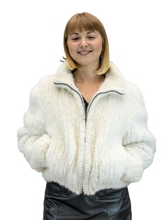 NEW Rovalia Select Royal Grade White Mink Knitted Zip Jacket