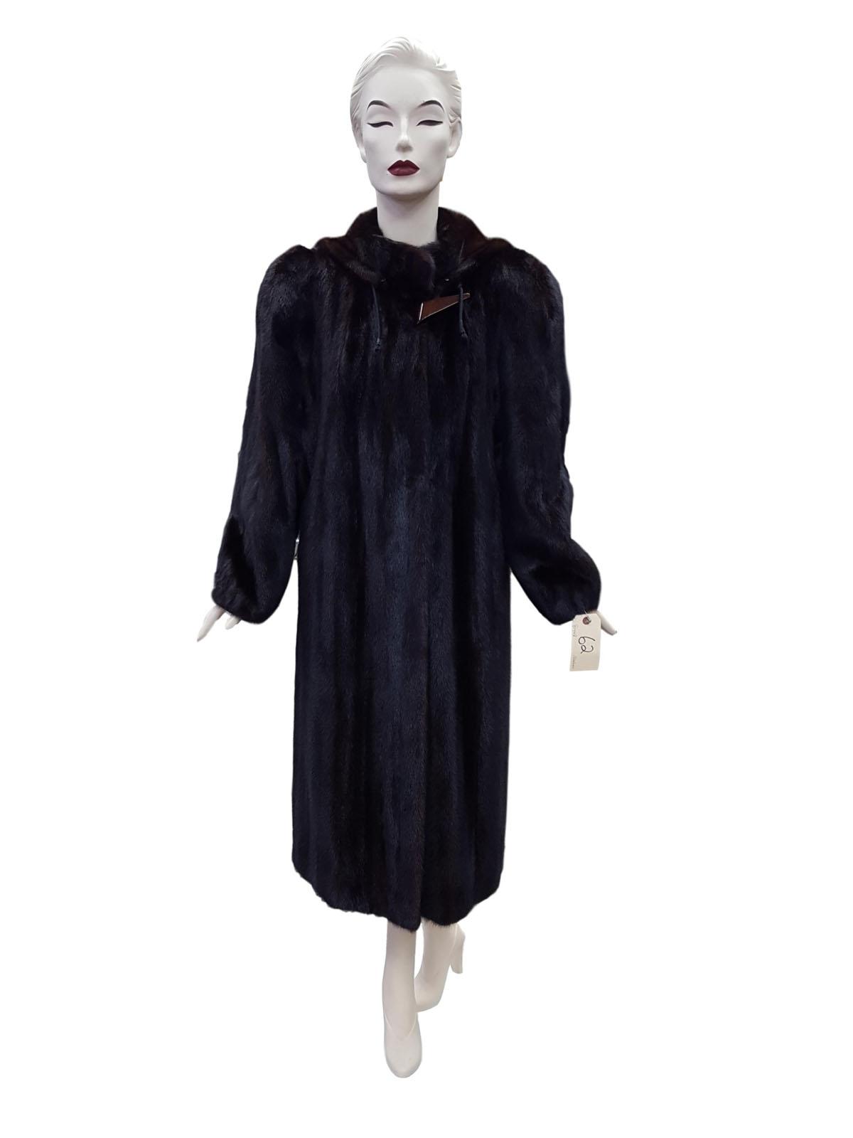 Natural Mahogany Mink Coat with Detachable Hood