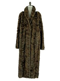 Man's Sculptured Mahogany Mink Fur Coat