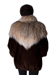 NEW Sheared Beaver Zip Jacket with Lynx Trim