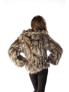 NEW Adrienne Landau Knitted Silver Fox Parka