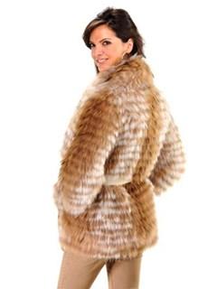 NEW BYTE by TESO Golden Finn Raccoon Organza Blend Fur Jacket