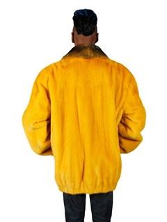 NEW Golden Yellow Mink Jacket with Chinchilla Collar