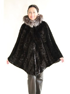 NEW Sheared Mink Sections Hooded Cape with Fox Trim