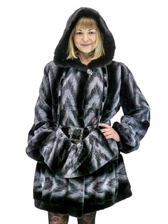 NEW Sheared Rex Rabbit Parka with Mink Trim and Matching Muff