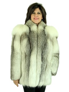 Woman's Natural Cross Fox Fur Jacket with Shadow Fox Accents