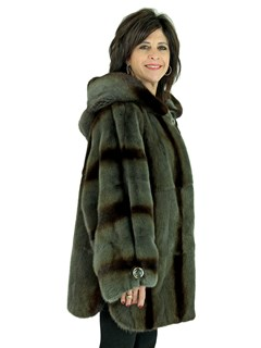 Woman's Grey and Dark Brown Degrade Female Mink Fur Parka