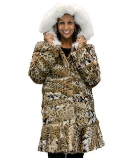 NEW Natural Cat Lynx Parka with Fox Trim