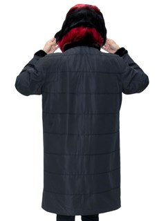 NEW Reversible Black and Red Sheared Mink Sections Parka