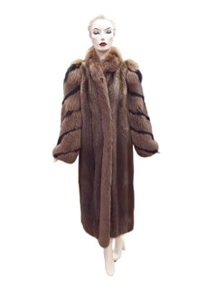 Beaver Coat with Fox Tuxedo Front and Sleeves
