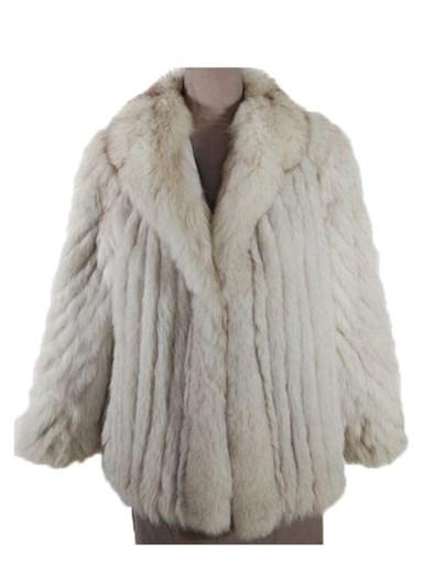Natural Blue Fox Fur Cord Cut Jacket
