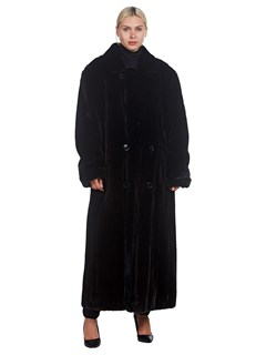 Woman's Double Breasted Mink Fur Full Length Coat