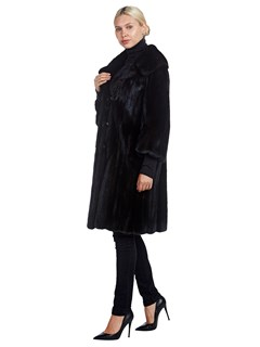 Woman's Ranch Mink Fur Double Breasted Stroller