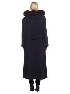 Woman's Fabric Parka with Sheared Nutria Fur and Finn Raccoon Fur Trim
