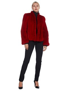 Woman's Red Dyed Mink Fur Jacket