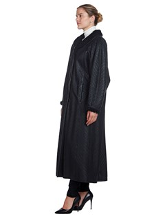 Woman's Full Length Black Dyed Shearling Lamb Coat