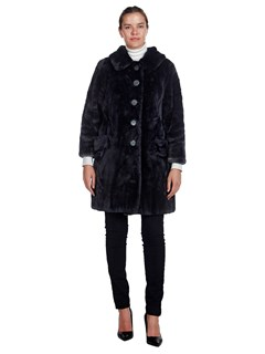 Woman's Navy Dyed Sheared Beaver Fur Coat