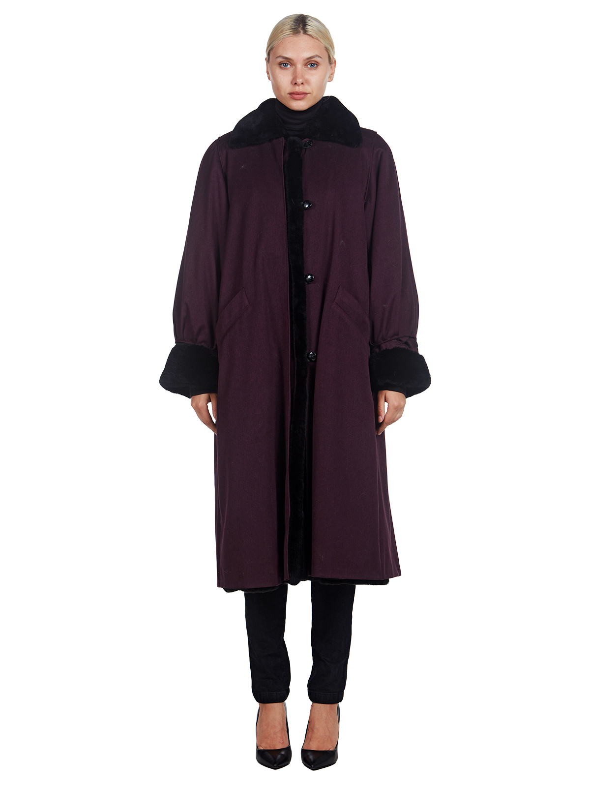 Woman's Reversible Burgundy Fabric with Sheared Nutria Coat