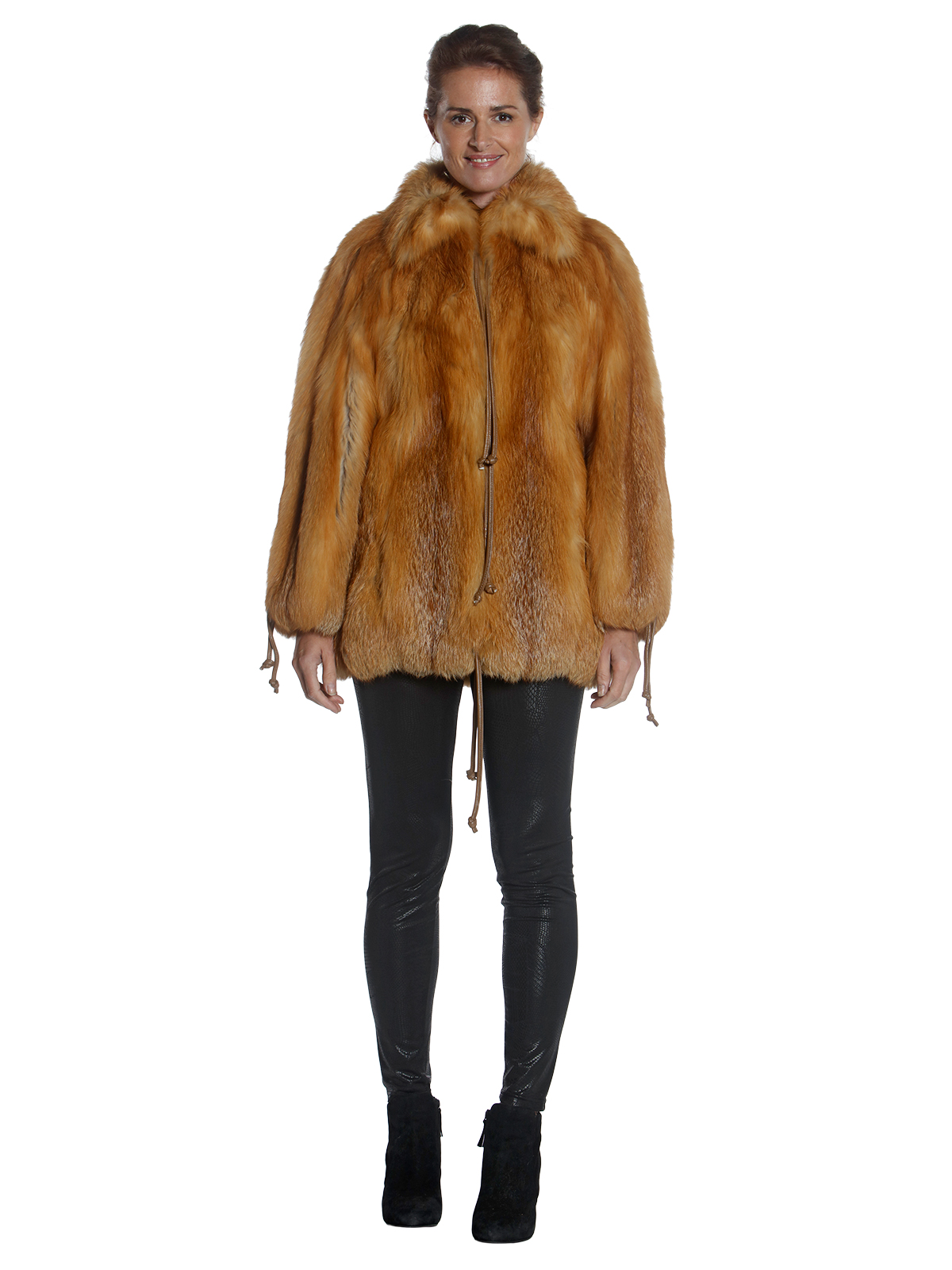 Woman's Red Fox Fur Jacket with Wing Collar
