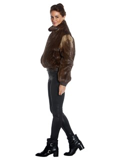 Woman's Brown Long Hair Otter Fur Bomber Jacket