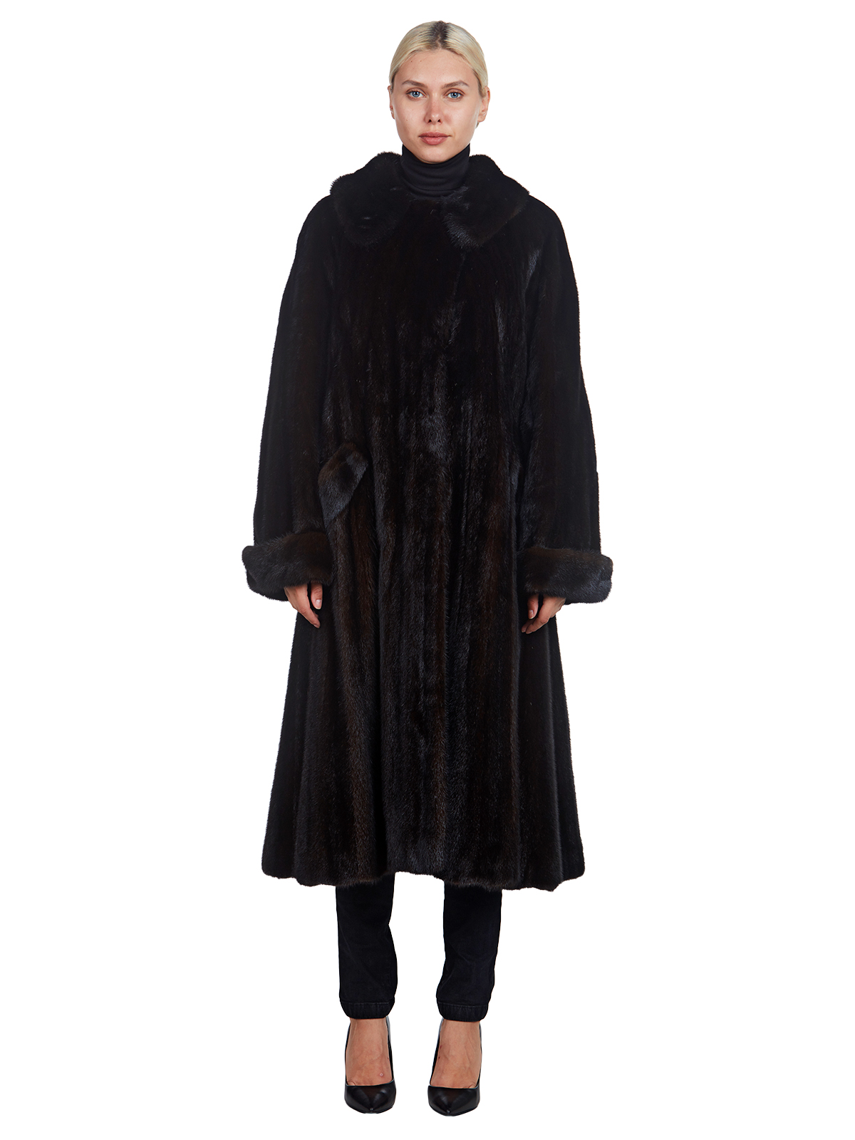 Woman's Dark Mahogany Mink Fur Coat