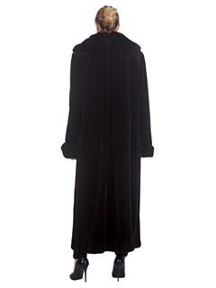 Woman's Full Length Black Sheared Mink Fur Coat with Chinchilla