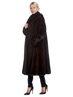 Woman's Mahogany Mink Fur 7/8 Coat