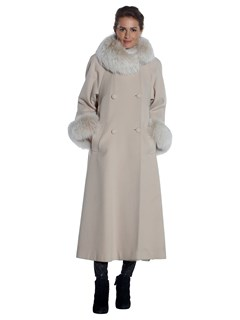 Woman's Beige Cashmere Coat with Fox Fur Trim