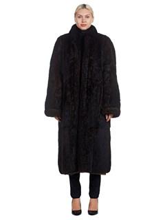 Woman's Reversible Full Length Brown Opossum Fur and Fabric Coat