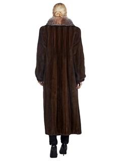 Woman's Full Length Brown Lunaraine Mink and Fox Fur Coat