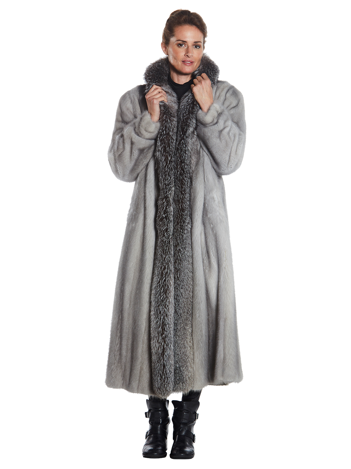 Woman's Full Length Grey Cerulean Mink and Fox Fur Coat