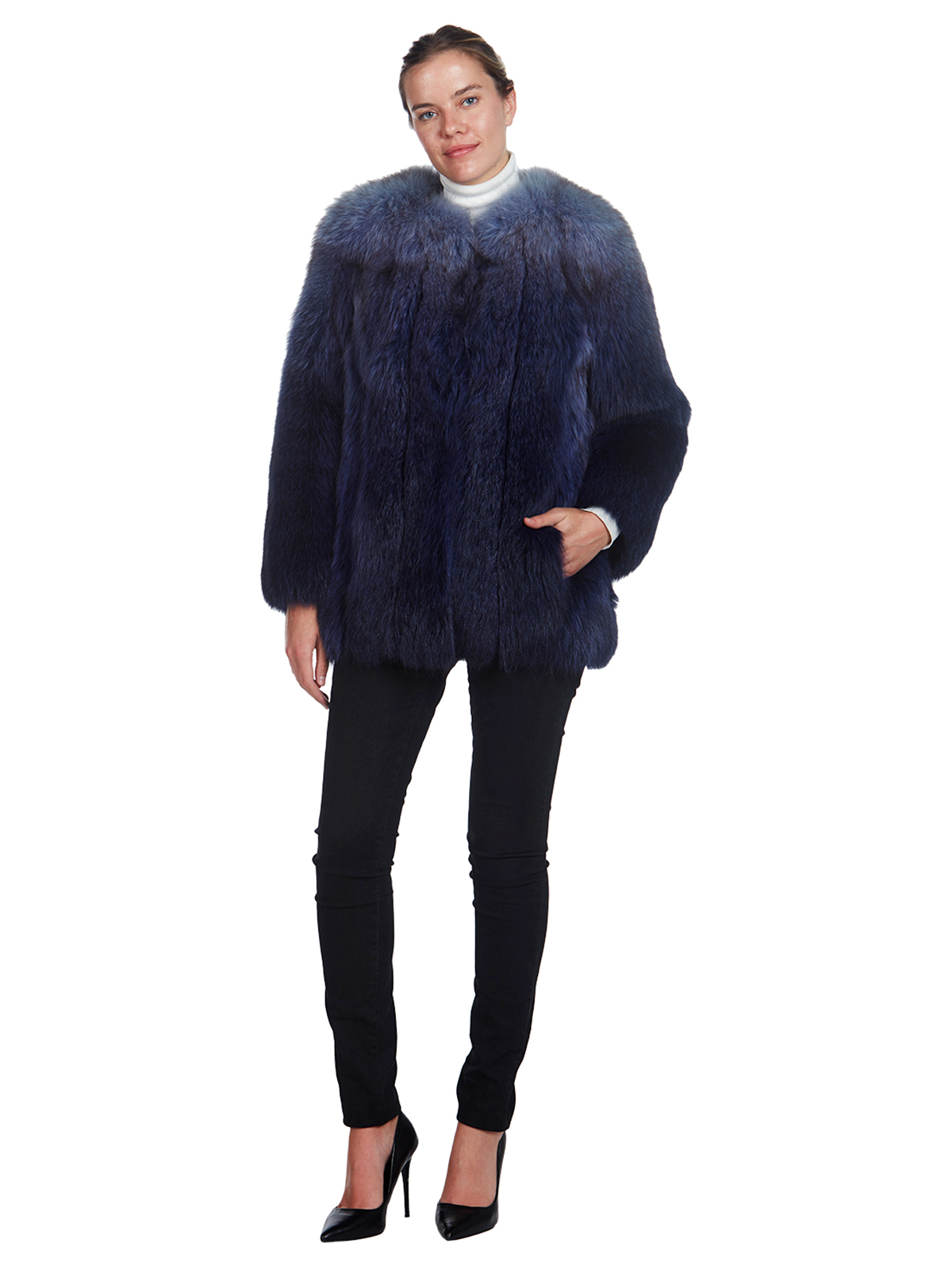 Woman's Blue Ombre Dyed Fox Fur Jacket