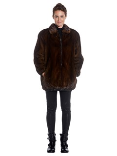 Woman's Reversible Mahogany Mink Fur and Leather Jacket