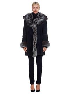 Woman's Ponte Vecchio Black Suede and Fox Fur Stroller