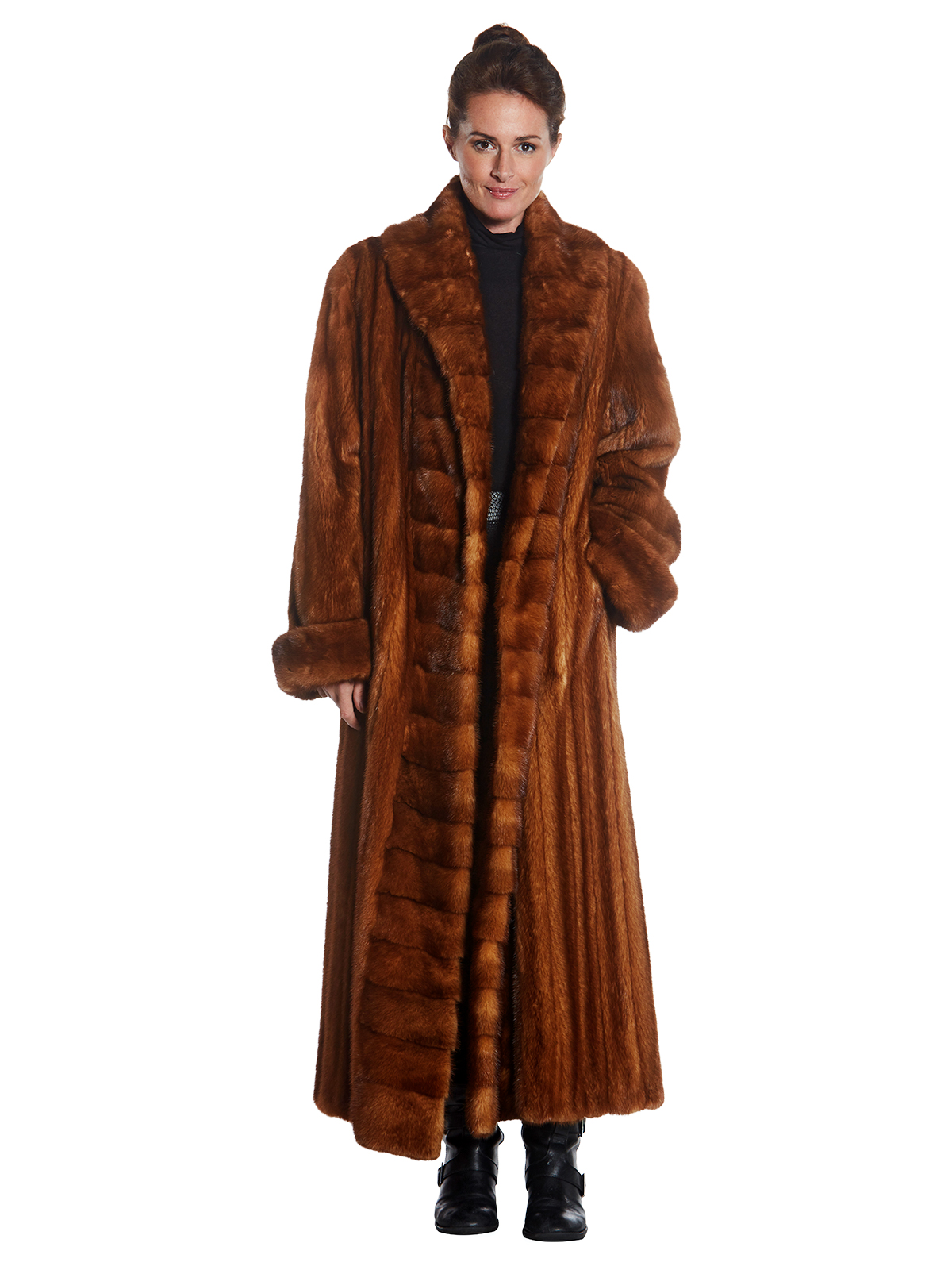 Woman's Full Length Wild Type Mink Fur Coat
