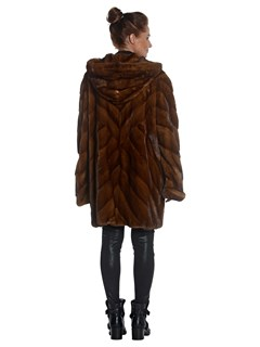 Woman's Mahogany Dyed Mink Fur Chevron Parka