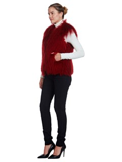 Woman's Sorbara for Neiman Marcus Cherry Red Dyed Lamb Vest