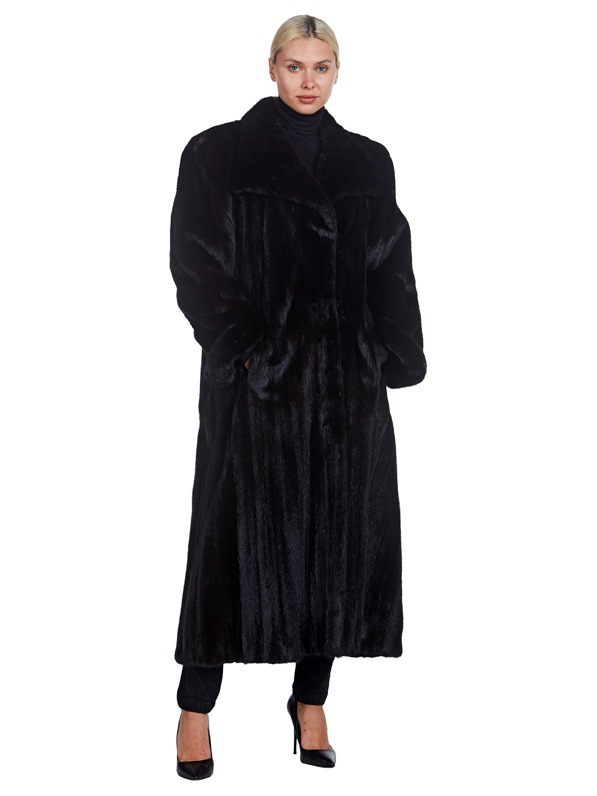 Woman's Full Length Ranch Mink Fur Coat with Wing Collar